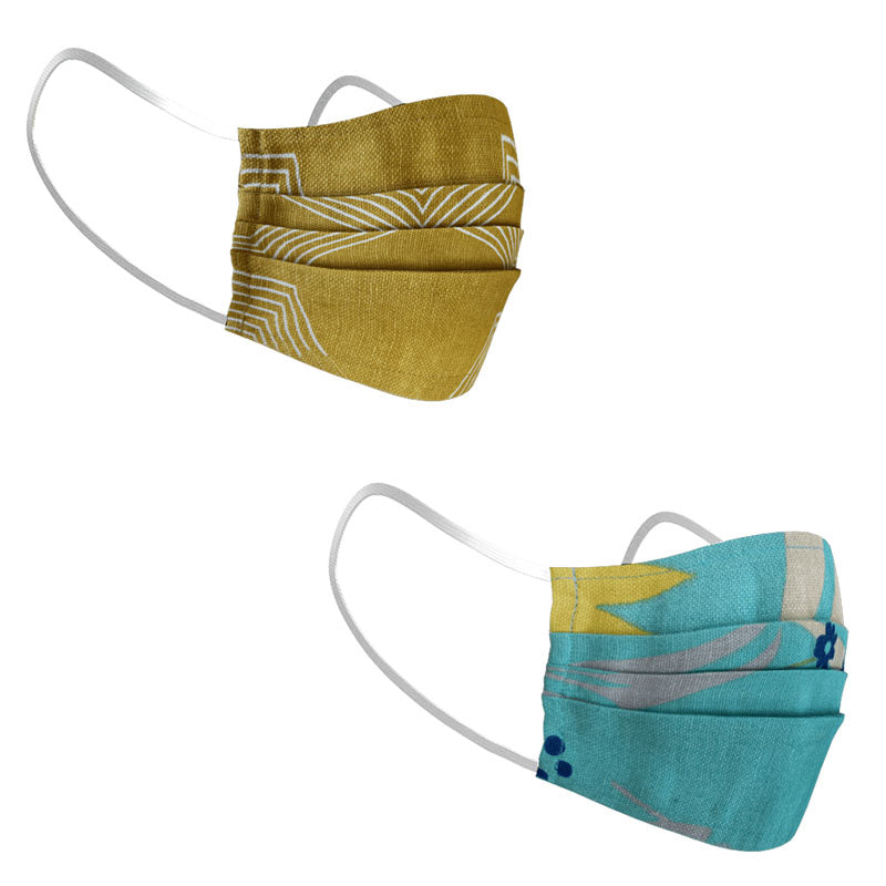 Face Mask - Set Of 2 - Mustard Yellow And Teal Green-PropShop24.com