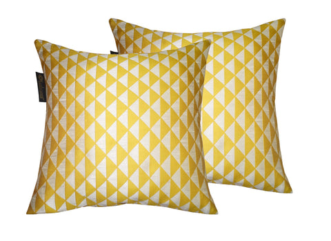 cushion covers - Yellow Polyester Jacqaurd - set of 2