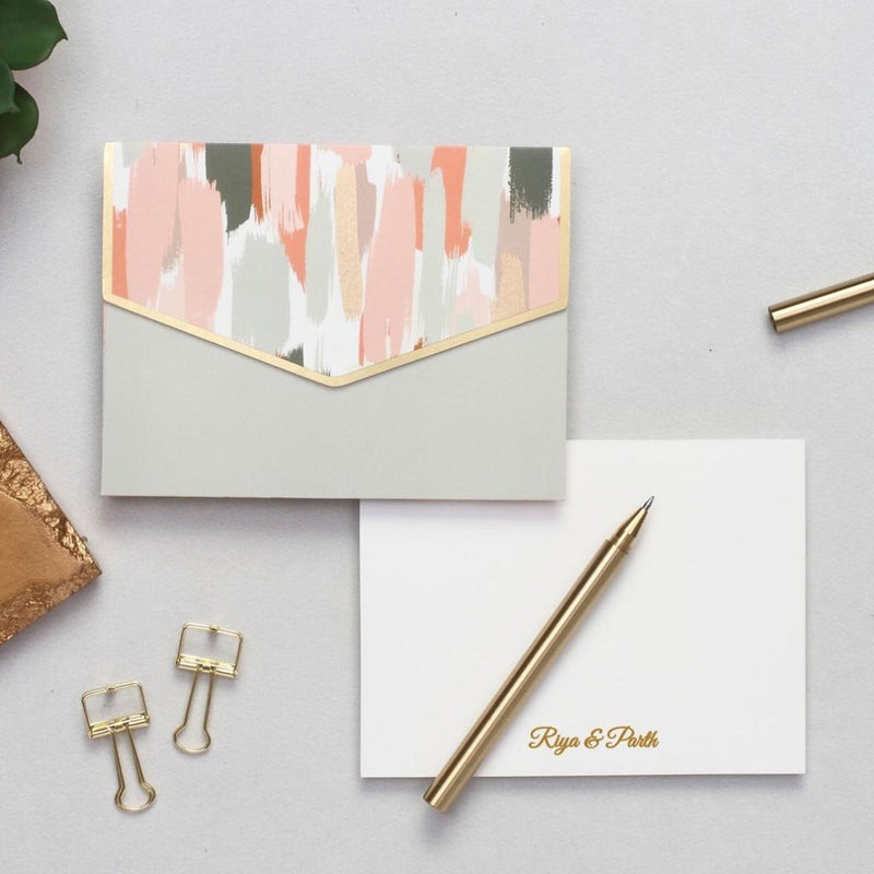 Personalized Notecard Set - Brush Strokes - C.O.D Not Available-GIFTING ACCESSORIES-PropShop24.com
