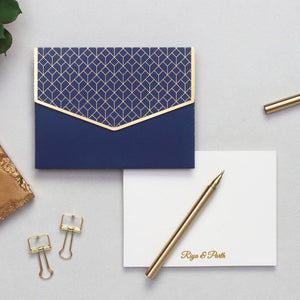 Personalized Geometric Notecard Set - Indigo Blue - C.O.D Not Available-GIFTING ACCESSORIES-PropShop24.com