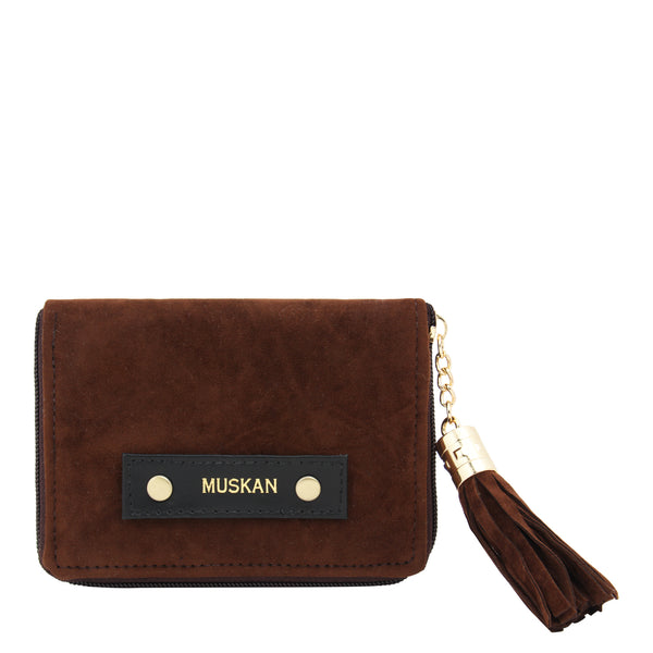 Compact Wallet With Metal Tassel- Velvet - Dark Brown-FASHION-PropShop24.com