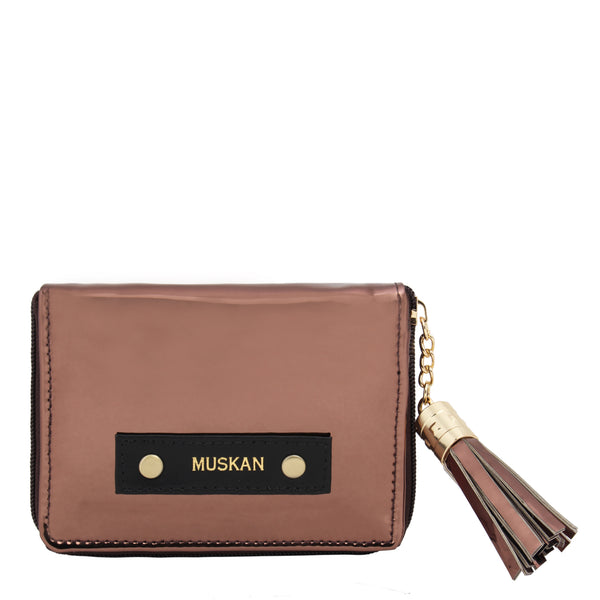 Compact Wallet With Metal Tassel- Metallic - Copper-FASHION-PropShop24.com