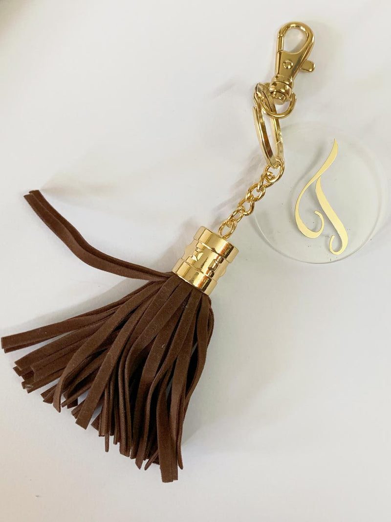 Personalized - Monogram Dark Brown Suede Tassel Keychain Bag Charm - C.O.D Not Available-WOMEN-PropShop24.com