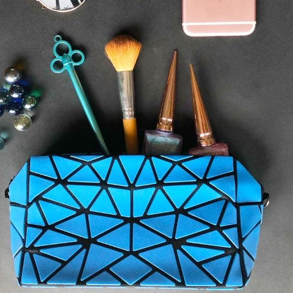 Geometric Cosmetic Make Up Pouch/ Portable Travel Organizer With Black Hand Strap (Blue)-FASHION-PropShop24.com