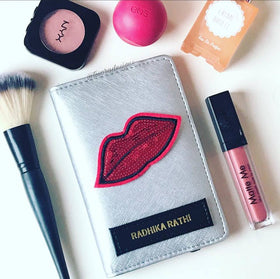 Personalized Passport Cover Pretty Lips Metalic Silver- C.O.D Not Available-FASHION-PropShop24.com