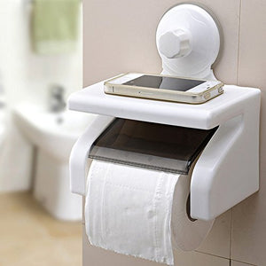Waterproof Bathroom Toilet Tissue Paper Roll Holder With Power Suction Cup - White-BATHROOM ESSENTIALS-PropShop24.com
