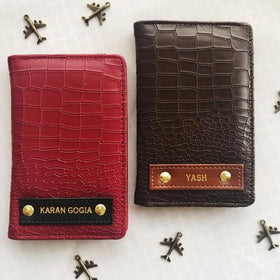 Personalized Croco Brown Passport Wallet With Camera- C.O.D Not Available-FASHION-PropShop24.com