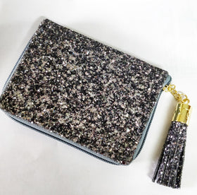 Compact Wallet with Metal Tassel- Glitter - Gun Metal-FASHION-PropShop24.com