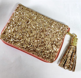 Compact Wallet with Metal Tassel- Glitter - Rose Gold-FASHION-PropShop24.com