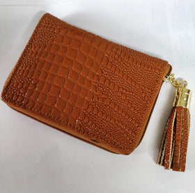 Compact Wallet with Metal Tassel- Crocodile Leather - Tan-FASHION-PropShop24.com