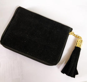 Compact Wallet with Metal Tassel- Velvet - Black-FASHION-PropShop24.com