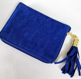 Compact Wallet with Metal Tassel- Velvet - Blue-FASHION-PropShop24.com