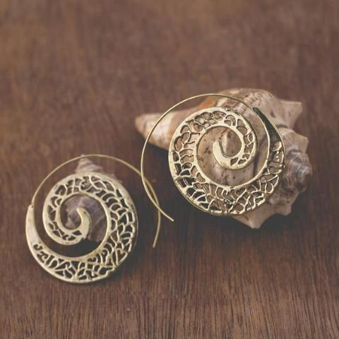 Crafted Spiral Brass Earrings-JEWELLERY-PropShop24.com