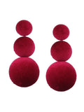 Red Velvet Buttoned Earrings-EARRINGS-PropShop24.com
