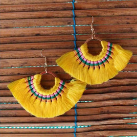 Mink Tassel Fringe Yellow Earrings-JEWELLERY-PropShop24.com