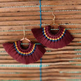 Mink Tassel Fringe Brown Earrings-JEWELLERY-PropShop24.com