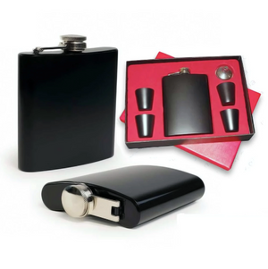 Hip Flask Gift Set - Matte Black-BAR + PARTY-PropShop24.com