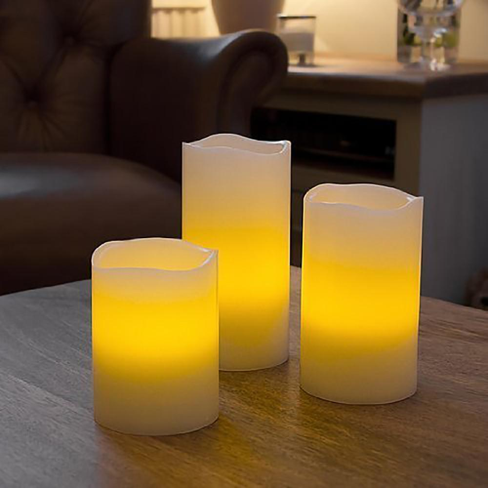 Flameless Candles With Remote Control - Set Of 3-CANDLES + AROMA-PropShop24.com