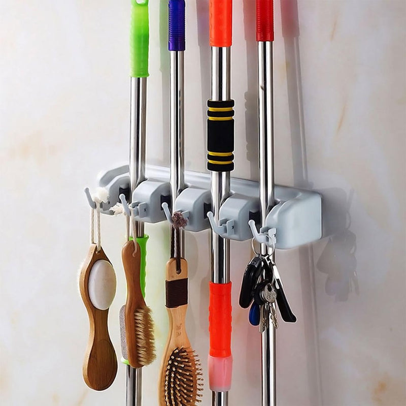 Mop And Broom Holder - Grey-DINING + KITCHEN-PropShop24.com