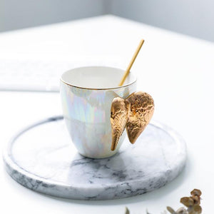 Coffee Mug With Lid And Spoon - Wing Handle - Ceramic - Single Piece-DINING + KITCHEN-PropShop24.com