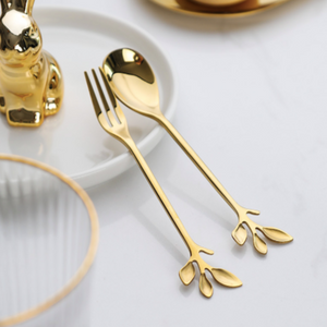 Gold Leaf Cutlery - Set Of 2-DINING + KITCHEN-PropShop24.com