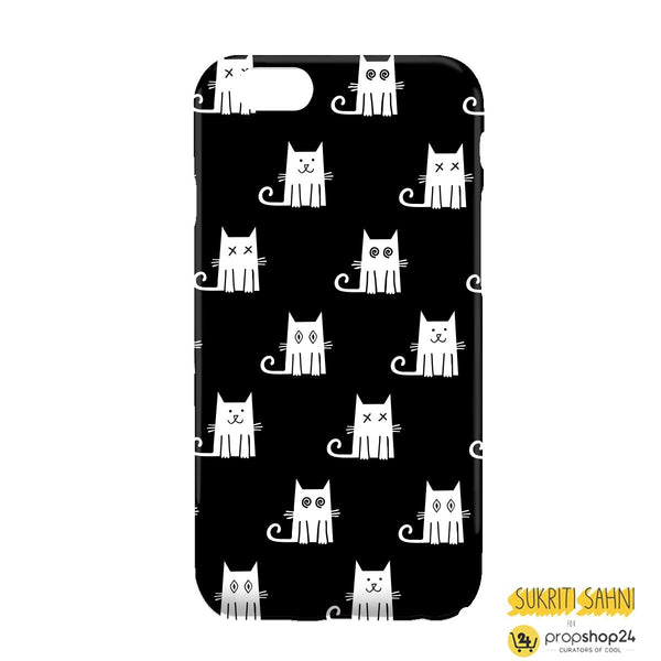 White Cats With Black Background - Phone Case-PHONE CASES-PropShop24.com
