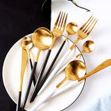 Cutlery Set - Gold and Black - Set of 4-HOME-PropShop24.com