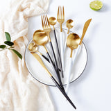 Cutlery Set - Gold And White - Set Of 4-DINING + KITCHEN-PropShop24.com