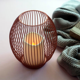 Candle Holder - Matte Rose Gold Cage-HOME-PropShop24.com