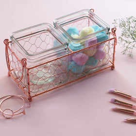 Rose Gold Desk Organiser - On the Fence - Set of 2 Jars-HOME-PropShop24.com