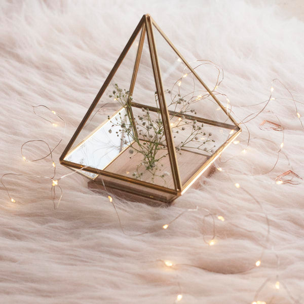 Terrarium - Pyramid - With Lights And Wooden Stand-HOME ACCESSORIES-PropShop24.com
