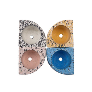 Quarter Concrete Table Top Planter - Terrazzo Print - Set Of 4-HOME ACCESSORIES-PropShop24.com