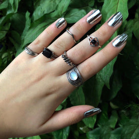Black Opalite Ring - Set of 6-JEWELLERY-PropShop24.com