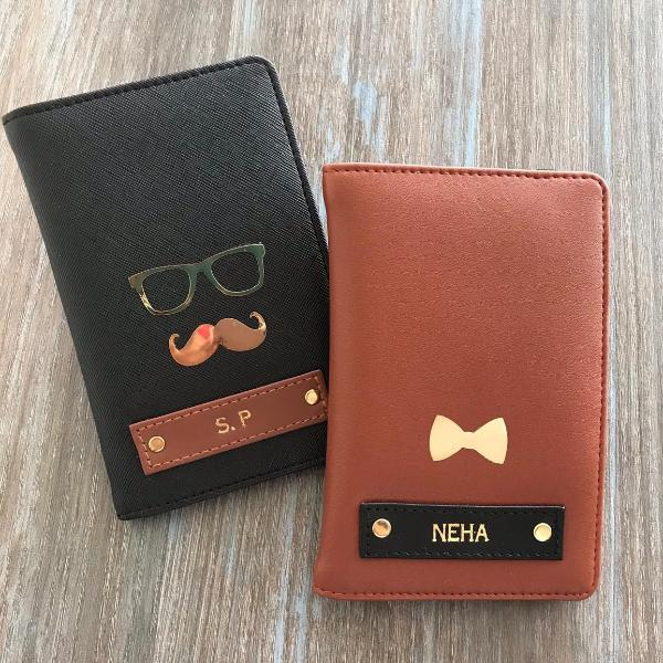 Personalized - Passport Cover - Couple - Brown And Black - C.O.D Not Available-TRAVEL ESSENTIALS-PropShop24.com