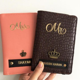 Personalized - Couple Passport Cover - Peach and Brown - Set of 2 - COD NOT AVAILABLE-FASHION-PropShop24.com