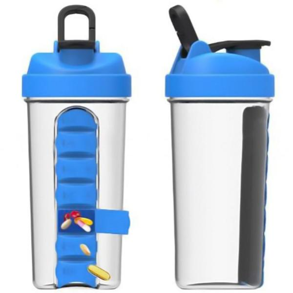 Shaker Bottle With Pill Box - Blue-HOME-PropShop24.com