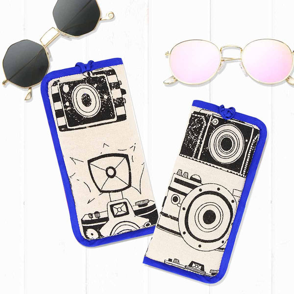 House of Masaba - Sunglasses Case - camera print - Blue Piping-FASHION-PropShop24.com