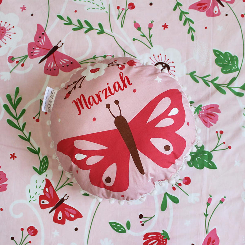 Personalized - Round Cushion - Butterfly - C.O.D Not Available-HOME ACCESSORIES-PropShop24.com