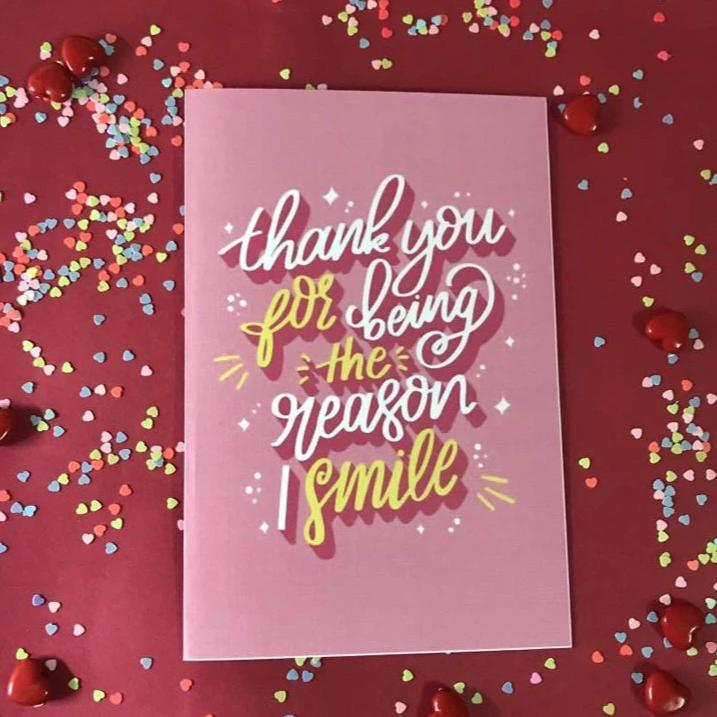 Greeting Card - Smile - Pink And Yellow-GREETING CARDS-PropShop24.com