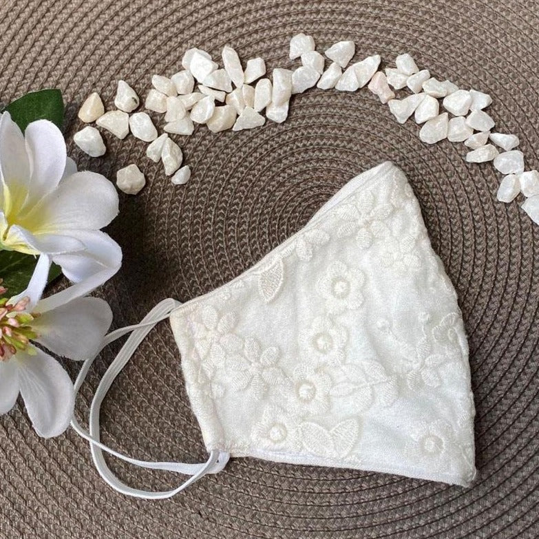 Face Mask - Floral Lace - White-PropShop24.com