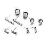 Earrings - Diamond Studded Silver - Set Of 5-JEWELLERY-PropShop24.com