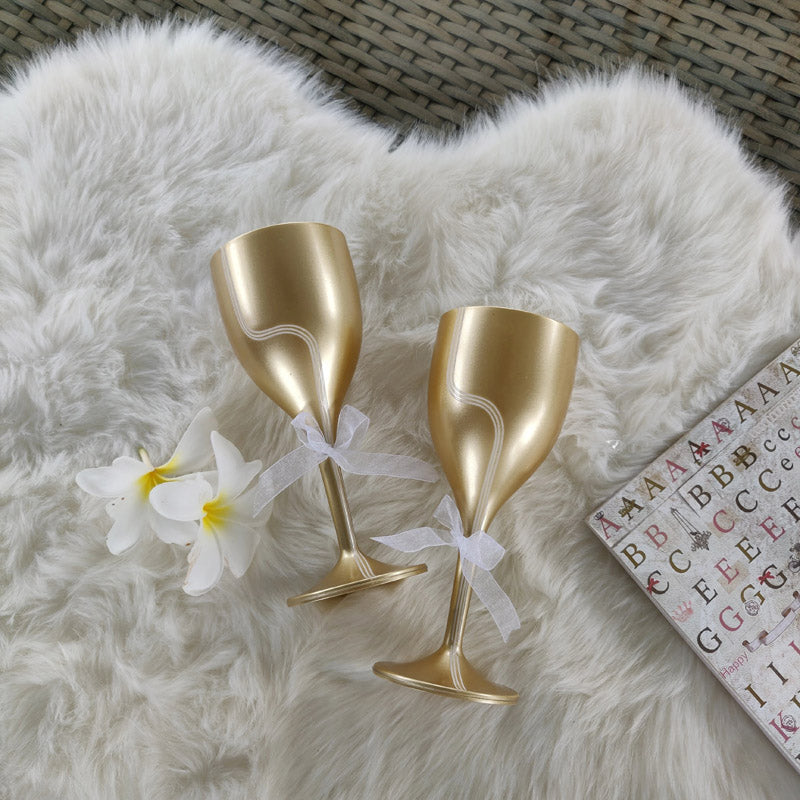 Wine Glasses - Eternal Gold - Set Of 2-BAR + PARTY-PropShop24.com