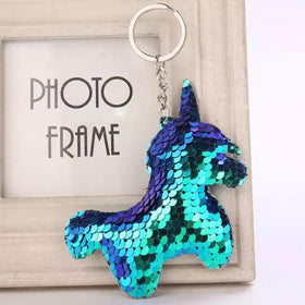 Sequin Keychain - Holographic Blue Unicorn-WOMEN-PropShop24.com