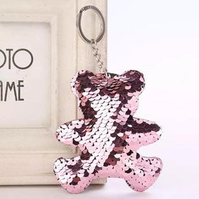 Sequin Keychain - Rose Gold Bear-FASHION-PropShop24.com