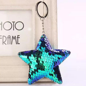 Sequin Keychain - Holographic Blue Star-FASHION-PropShop24.com