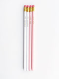 Pencils Boss Babe Gold Stamped Ivory & Peachish Pink - Set Of 4-Stationery-PropShop24.com