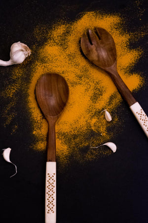 Wooden Serving Spoons - Carved - Set Of 2-DINING + KITCHEN-PropShop24.com