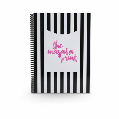 Spiral Notebook Large -B/W Stripes-STATIONERY-PropShop24.com