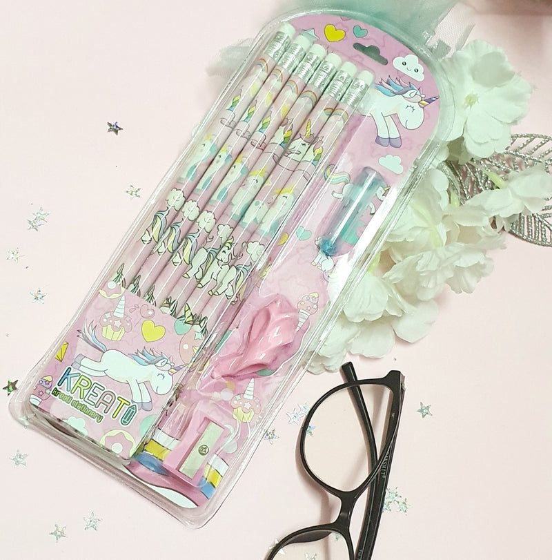 Pink Unicorn Pencils With Sharpener - Set Of 15-DESK ACCESSORIES-PropShop24.com