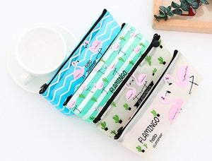 Pencil Pouch Box Stationery Case Organizer - Flamingo-WOMEN-PropShop24.com